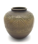 C CBL 068-0238, Green brown round vase with geometric incisions by Margaret Kelly Cable