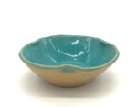 C CBL 062-0232, Shallow dish, brown with turquoise by Margaret Kelly Cable