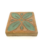 Brown Tile with Green Floral Motif Side A