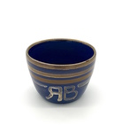 Glaze Test Bowl, Blue and Metallic Gold, White Lettering by Maker Unknown (RB)