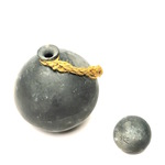 Black Ball Vessel with Rope Decoration