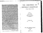 The Chronicles of Jeremiah Goldswin Albany Settler of 1820 by Una Long