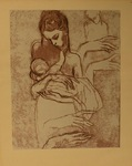Untitled (Sketch of Woman Holding Baby) by Artist Unknown
