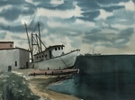 Untitled (Boat at Dock) by Helge Ellis Ederstrom