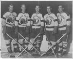 UND Hockey Players Ken Johannson, Bob Dunsworth, Bill Trimble, Ben Cherski, and Elwood Shell